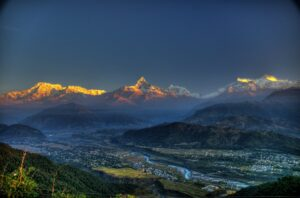Pokhara with Machhapuchhre in the background